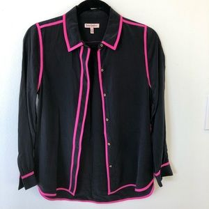Juicy Couture black silk shirt with pink piping